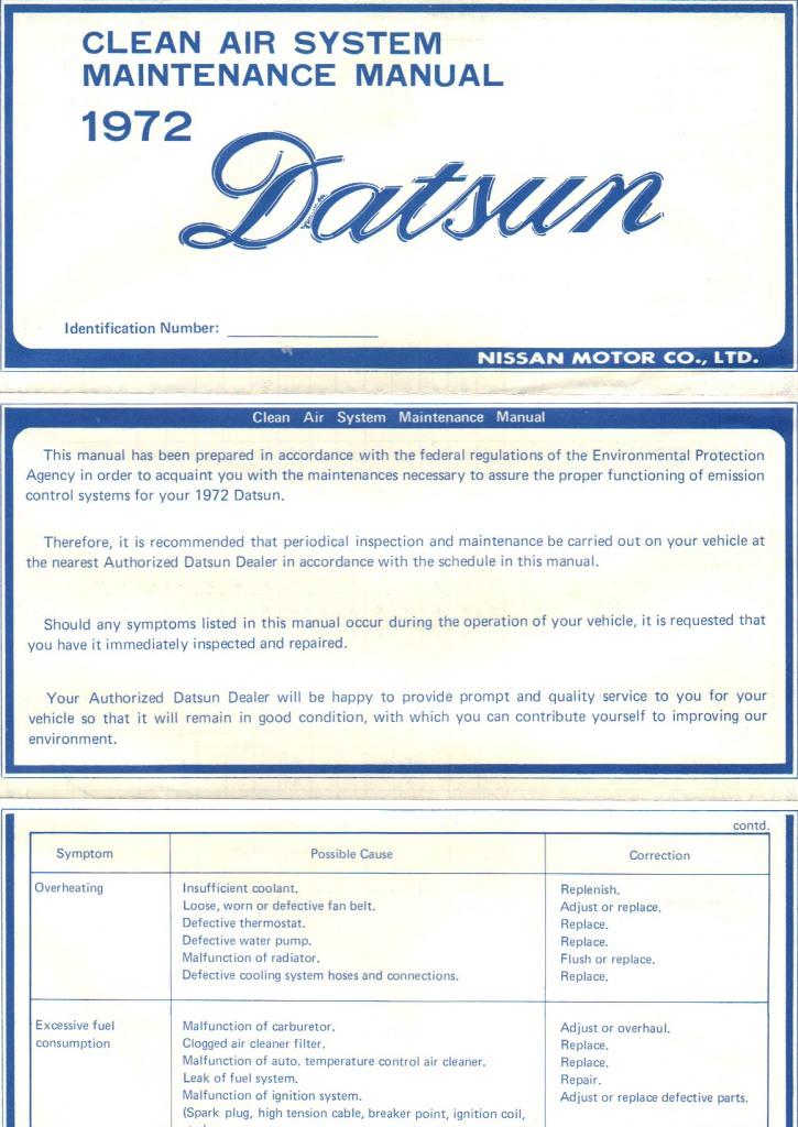 Datsun Emissions Maintenance 1972 (1)
