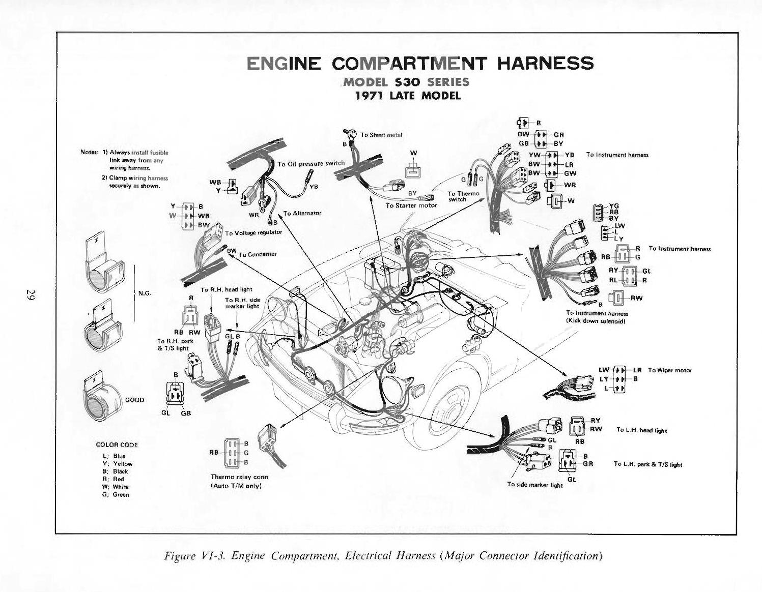 72 240z wiring harness diagram 240z engine