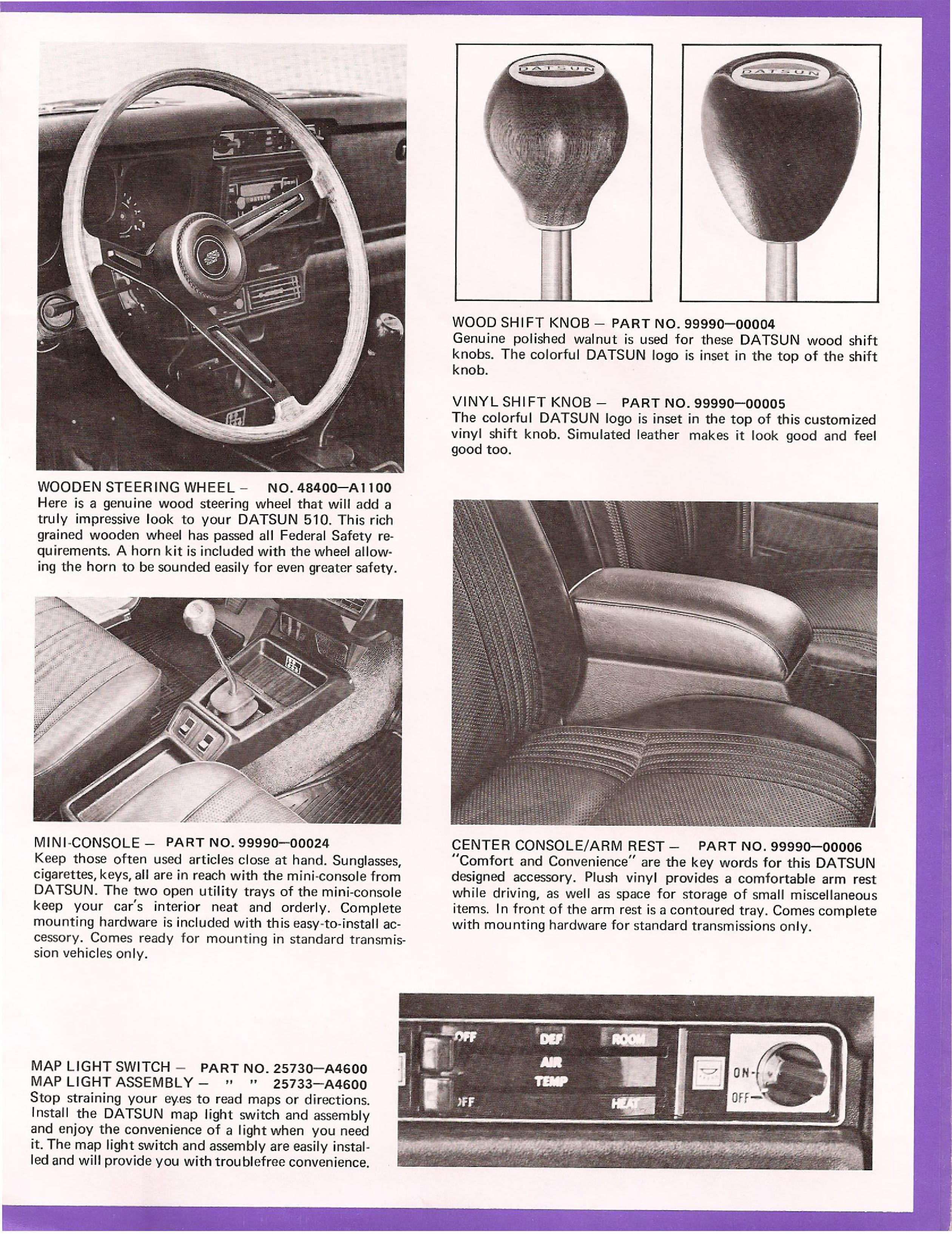 1972 Datsun 510 Factory Options Brochure